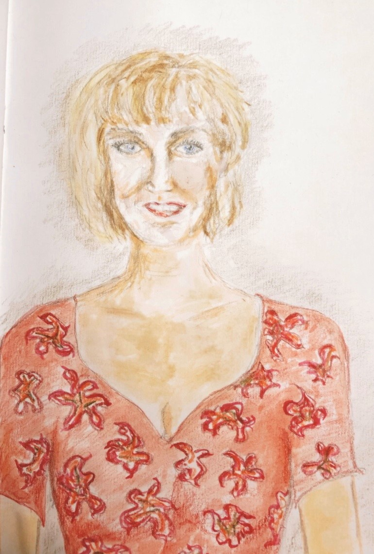 'Tonia' a portrait sketch by Anne Marie Sinclair