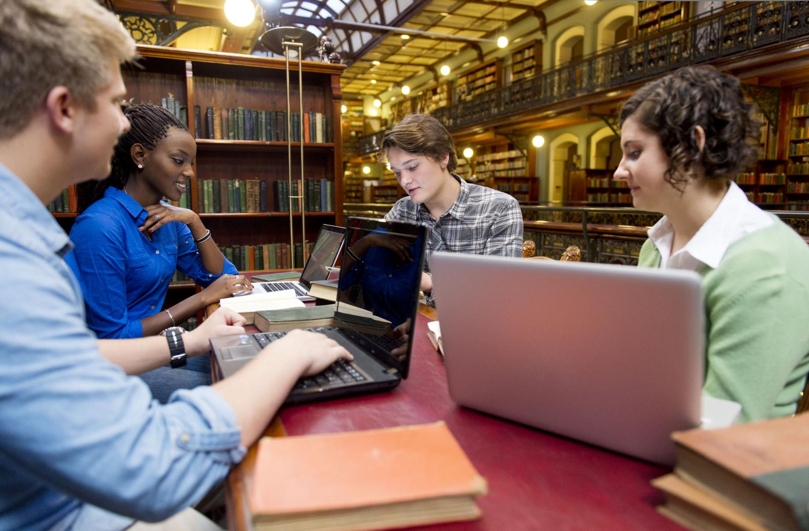 Students studying in the Mortlock Wing, photo taken by Peter Fisher