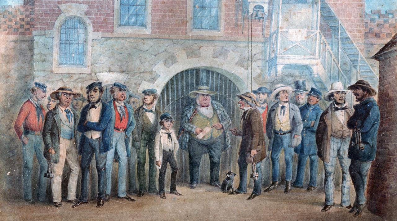 The Governor and staff at the Adelaide Gaol, 1850 by Henry Glover [B/17790]