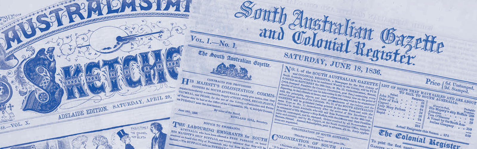 News machup featuring the South Australian Gazette 1836 and the Australasian Sketcher 1882