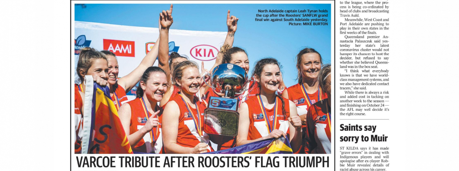 Clipping from The Advertiser, 24 August 2020