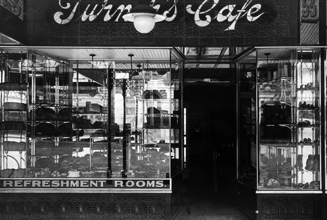 Window display at Turner's Cafe [B 55669]