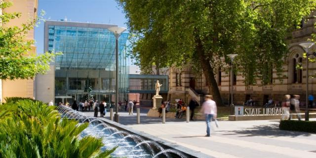 State Library forecourt and Spence Wing entrance