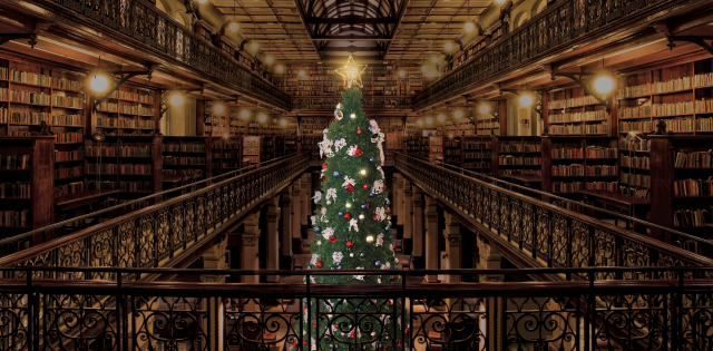 Christmas tree lit up in the Mortlock Chamber, State Library of South Australia