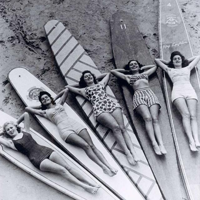 Surf sirens, Manly beach, New South Wales, c. 1940. National Library of Australia [NLA.obj-143539670]