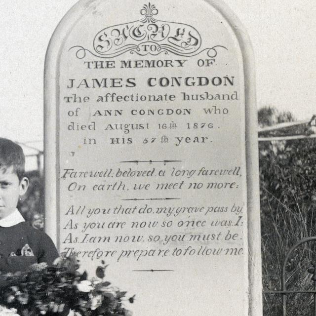 Alfred Congdon, oldest son beside the grave of James Congdon, c. 1868 - 1900 [B 150863/53]